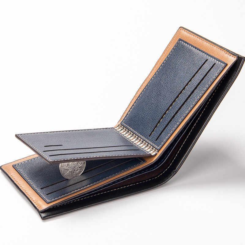 Cartera de lujo de la marca de cuero de los hombres de la vendimia de 2019 monederos cortos delgados monederos del dinero de la tarjeta de crédito del precio del dólar