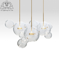 TZ Modern Bolle Pendant Lamp Glass Lampshade Bubble Pendant Light For Parlor Iron Pendente Industrial Lustre