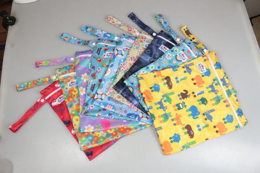 DHL Free Shipping Baby Waterproof Zipper Infant Diaper Bags Diapers Barrel Stuff Bags Baby Nappies Tote Bag Wet Bag Wholesale