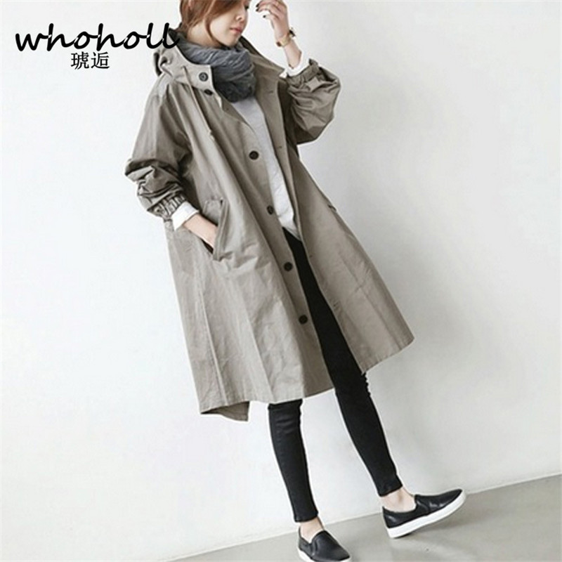Winter Autumn 2018 Women Loose Hooded Womens Trench Coat Long Outerwear Loose Clothes for Lady Windbreaker Solid White Balck