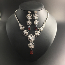 2017 new elegant flower red water drop zircon necklace earring jewelry set wedding bride banquet dress jewelry free shipping