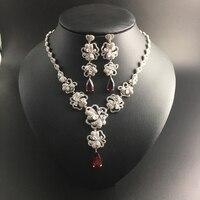 2016 New Elegant Flower Red Water Drop Zircon Necklace Earring Jewelry Set Wedding Bride Banquet Dress