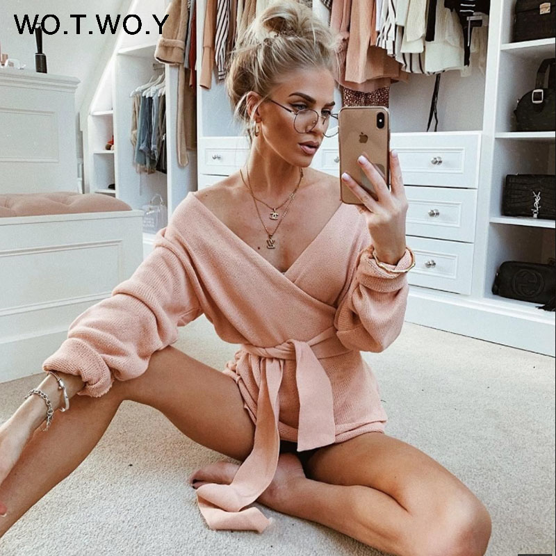 WOTWOY Lace Up V-ausschnitt Kreuz Winter Gestrickte Pullover Frauen Off-schulter Rosa Streetwear Sexy Übergroße Strickjacken Frauen 2019 heißer