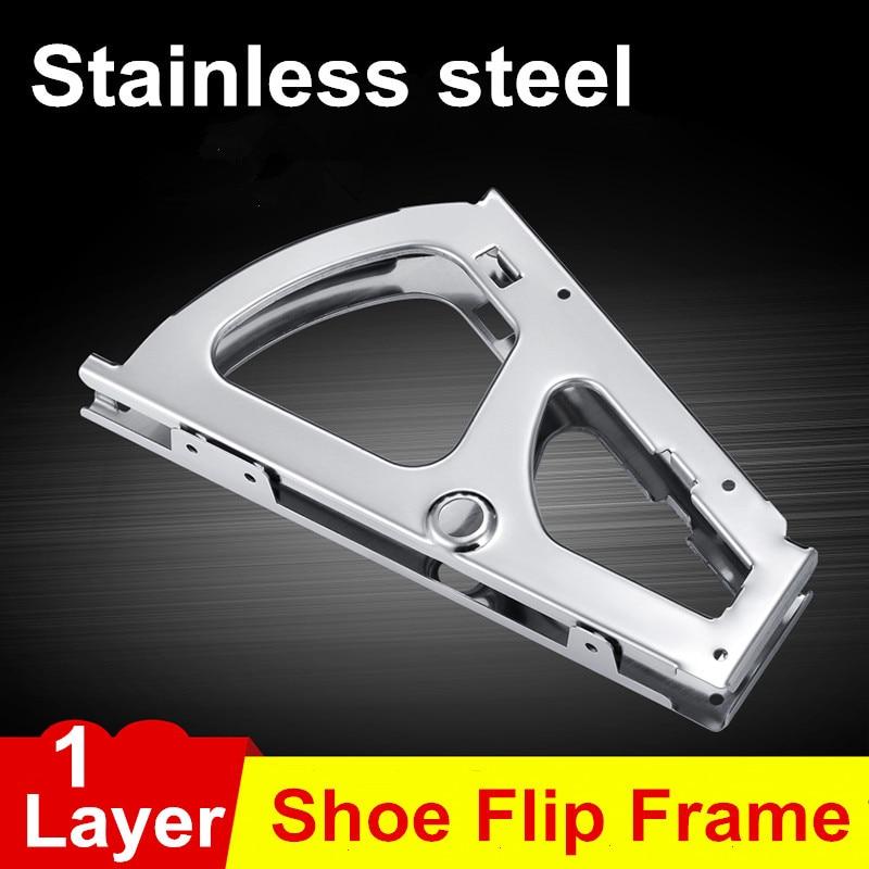 1Pair Stainless Steel Single Layer option Shoe Rack Flip Frame Gray Color Hidden Hinge 1pair iron shoe rack flip frame 2 layers option black color hidden hinge