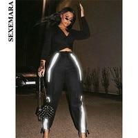 BOOFEENAA Black Reflective Harem Pants Women Pockets High Waist Sweatpants Streetwear Joggers Casual Loose Trousers C87 AH51