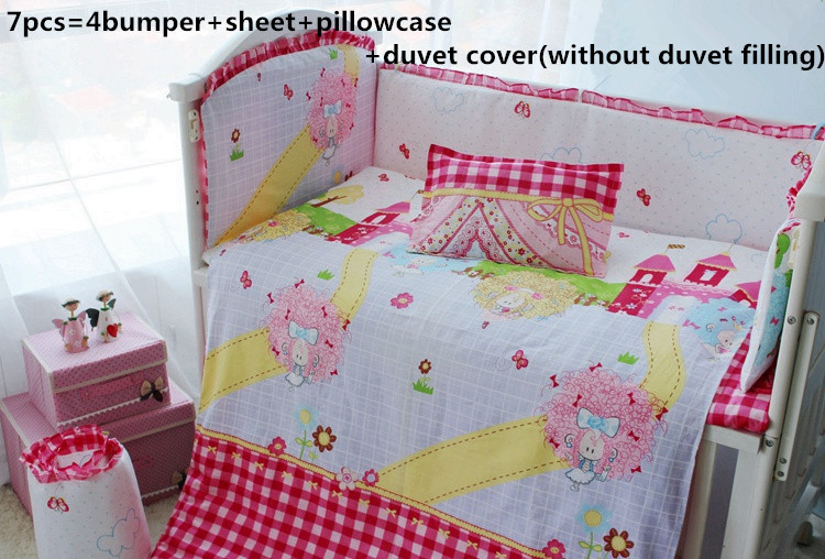 ФОТО Promotion! 6/7PCS Appliqued Baby Cot Crib Bedding set for girls Comforter Cover ,Duvet Cover,120*60/120*70cm