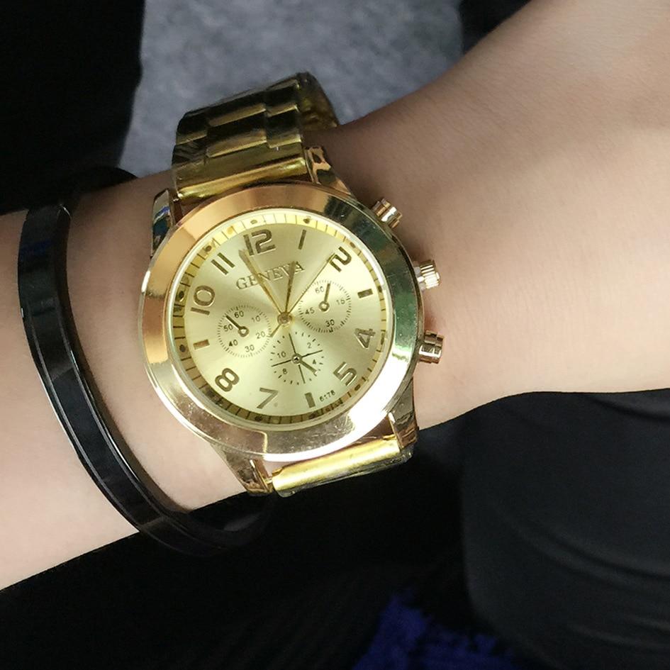New Famous Brand Geneva Dress Women Watches Stainless Steel Unisex Watch Relogio Feminino Quartz Watch Dames Horloges Clock