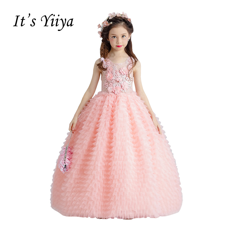 It's YiiYa Backless Illusion Pink Chiffon Zipper Tiered Appliques Floor Length Flower Princess Flower Girl Dress Communion TS266