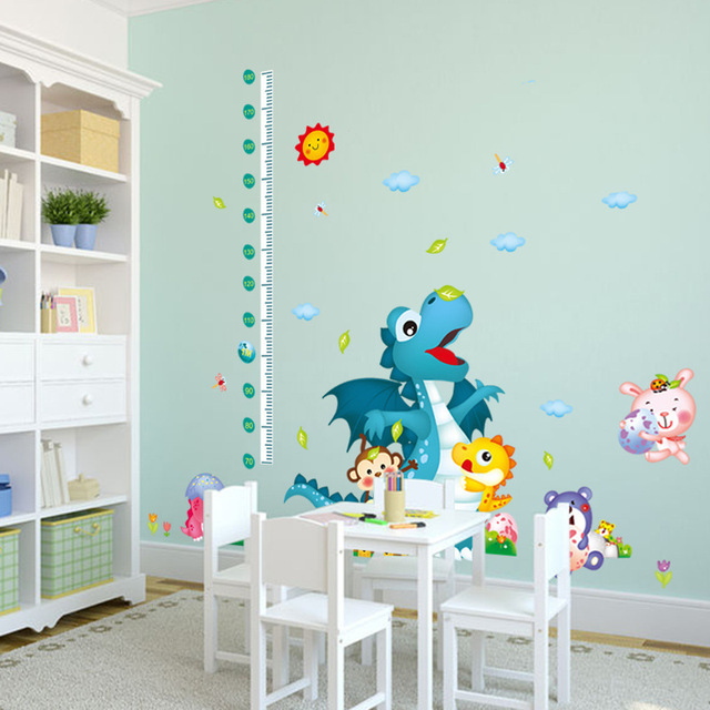 cartoon dinosaur wall stickers growth chart ruler height measure kids room wall decal pvc removable sticker