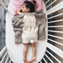 ФОТО Baby Blanket Cotton Big Rabbit Ear Swaddling born Blanket Wrap Soft Blankets Baby/Toddler/Kids Bedding Knitted