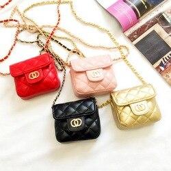 Diseño de marca niños cadena mensajero pequeño bolso Mini solapa de la chica de moda bolsos de embrague de Color caramelo Lingge coreano cambio bolsa de dinero