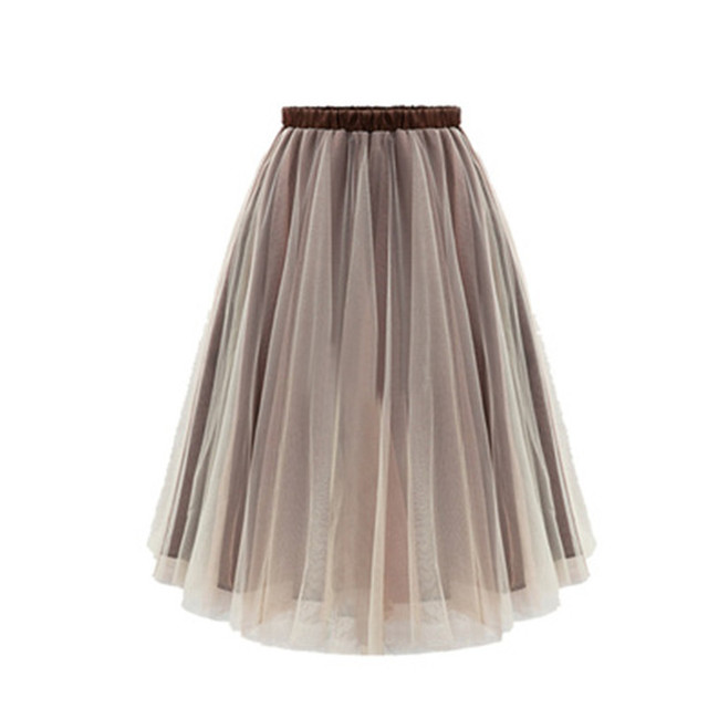 2a8f083a304 2018 Spring long skirt Womens Lace Princess Fairy Style Voile Tulle Skirt  Bouffant Puffy Skirt palace