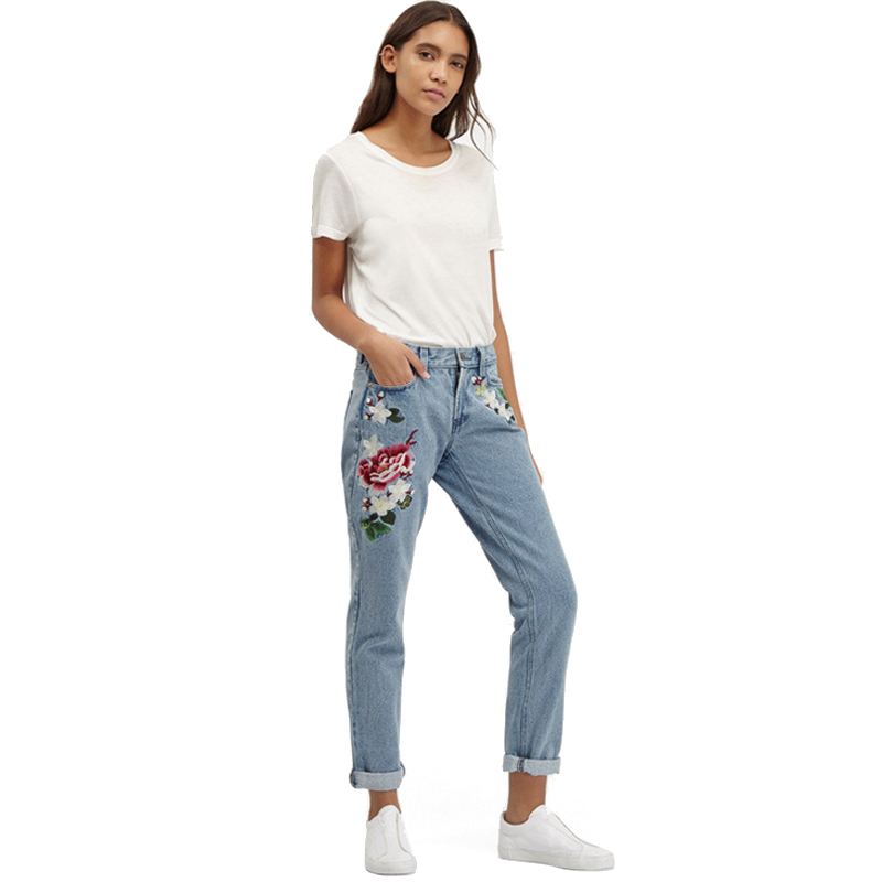 Mom Jeans Pantalon Femme Brand Femme Jeans With Embroidery Flower - Women's Clothing - Photo 4