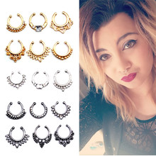 New Crystal Fake Nose Ring Black Color Round Septum Piercing Clicker Faux Clip Non Body Hoop for Women Wholesale Jewelry(China)