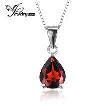 JewelryPalace 2.2ct Pera Natural Rojo Granate Birthstone Colgante con Solitario 925 2016 Nuevo Incluye un 45 cm Cadena de Caja