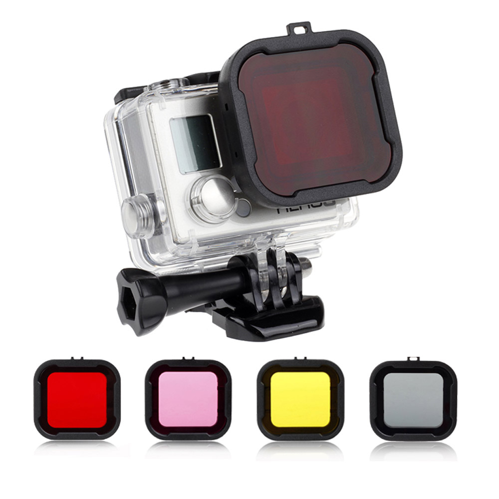 SHOOT Waterproof Case Lens Filters for GoPro Hero 4 3+/4 Black Silver Action Camera Red Filter for Go Pro Cam Diving Accessory high precision cnc aluminum alloy lens strap ring for gopro hero 3 red