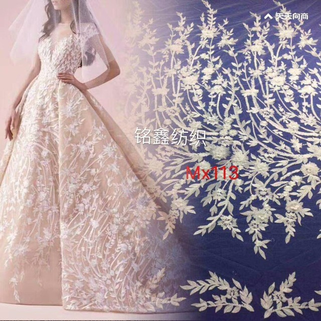 c071742e7a 5yards gh004 offwhite luxury wedding polyester embroidery french net tulle  mesh lace for wedding/evening dress/party.