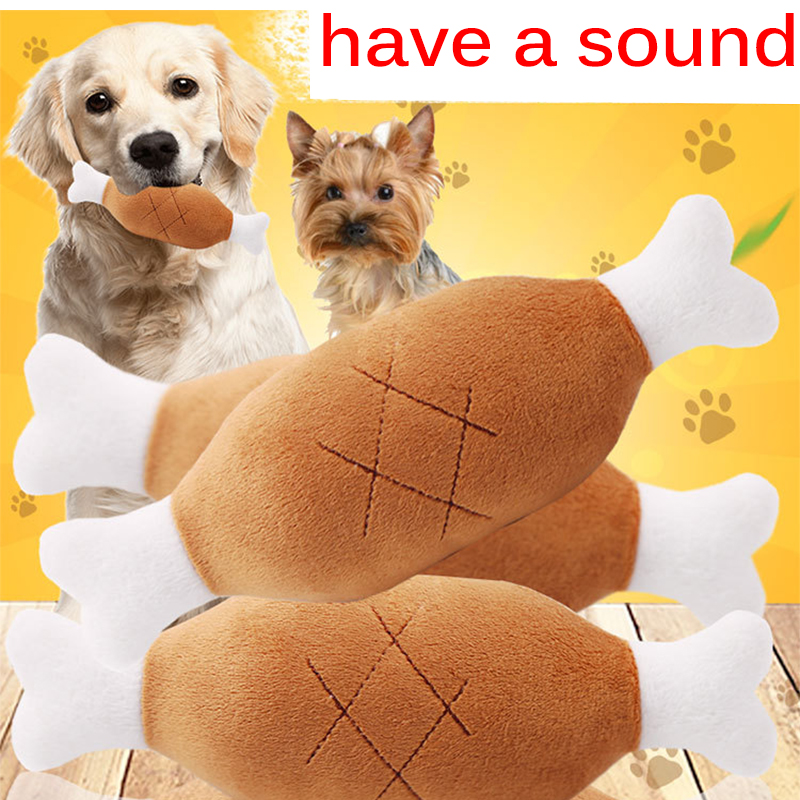 1PC High Quality Pet Plush Sound Toy Chicken Wholesale Interactive Push Pet Toys Dog Plush Toy Simulated Chicken Leg Toy