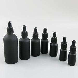 Matte Black Dropper Bottle Portable Aromatherapy Essential Oil Bottle with Glass Eye Dropper 5ml 10 15 20 30 50 100 ml 20pcs