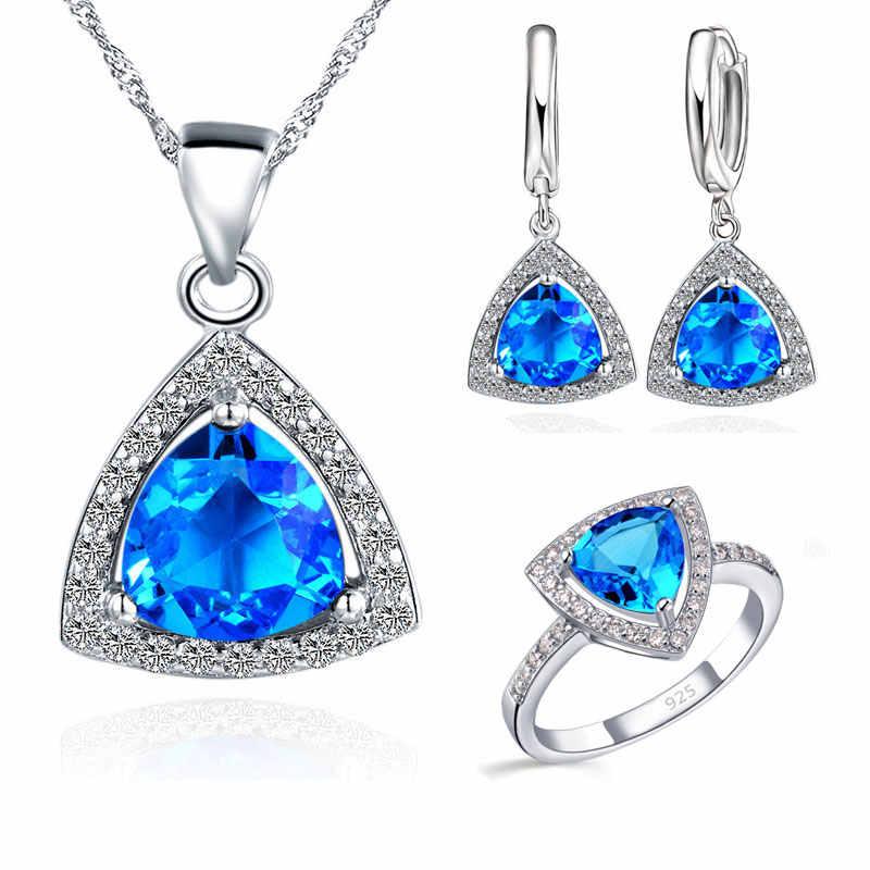 Blau Schmuck Sets Fett Dreieck Zirkonia Stein 925 Sterling Silber Farbe Ohrringe Anhänger Halsketten Finger Ringe US6-9