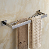 Free Shipping SUS 304 Stainless Steel Double Towel Bar Square Towel Rack In The Bathroom Wall
