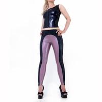 Сексуальные латексные костюмы латексные резиновые танки с колготками леггинсы, обтягивающие цветные длинные штаны