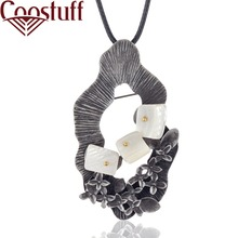Vintage Long Necklace with Flower Pendant White Stone necklaces & pendants Wholesale Jewelry collares mujer colar choker