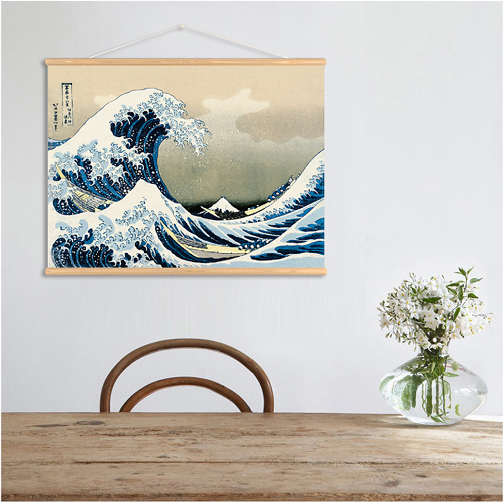 Us 13 76 49 Off Qkart Wall Art Japan Style The Great Wave Off Kanagawa Wall Art Pictures Hanging Canvas Wooden Scroll Paintings For Living Room In