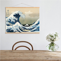 QKART Wall Art Japan Style The great wave off Kanagawa Wall Art Pictures Hanging Canvas Wooden Scroll Paintings For Living Room