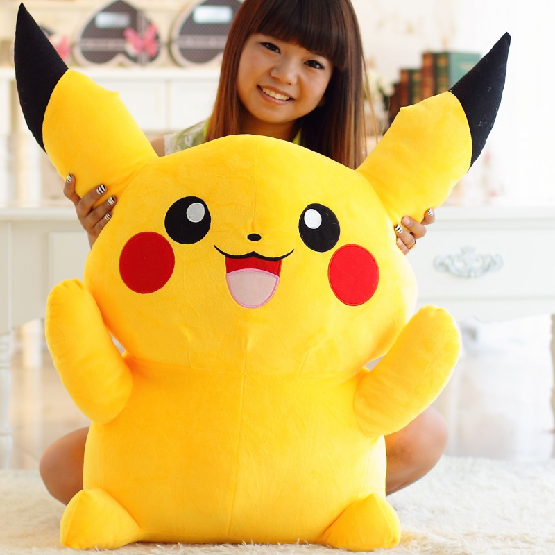 100cm Kawaii Big Anime Plush Toy Pikachu Giant Soft Stuffed Animal Kids Doll for Girl Cute stuff Fluffy Children Birthday Gift 20cm cute hamster mouse plush toy stuffed soft animal hamtaro doll lovely kids baby toy kawaii birthday gift for children