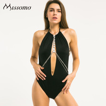 Missomo 2016 New Fashion Women Black Sexy Halter Strap Cut Out Blackless  Fitted Solid Bodysuit