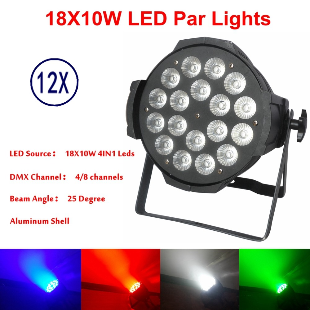12pcs/lot LED Par Lights 18x10W Lighting Led Par Light Strobe DMX Controller Party Dj Disco Bar Strobe Dimming Effect Projector