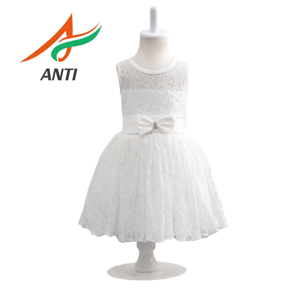 ANTI Fashion White Lace   Flower     Girl     Dress     Girls   A-Line   Dress   With Bow Sashes Princess Baby   Girl     dress   Real Photos Custom Made