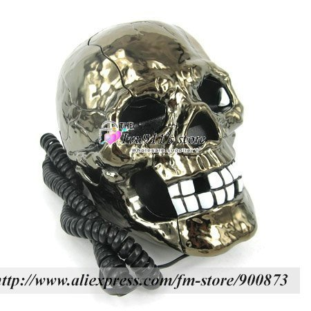 Wholesale - 20pcs/lot New style skull shape telephone as seen on TV gifts, Flashing Phone, funny gift ivu911