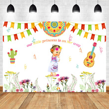 Neoback Mexican Fiesta Baby Shower Photo Backdrop Little Princess Flower Color Flag Photography Backgrounds