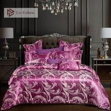 Liv-Esthete Luxury Bedding Set Euro Jacquard Purple Double Queen King Duvet Cover Flat Sheet Decorative Home Textiles Bed Linen