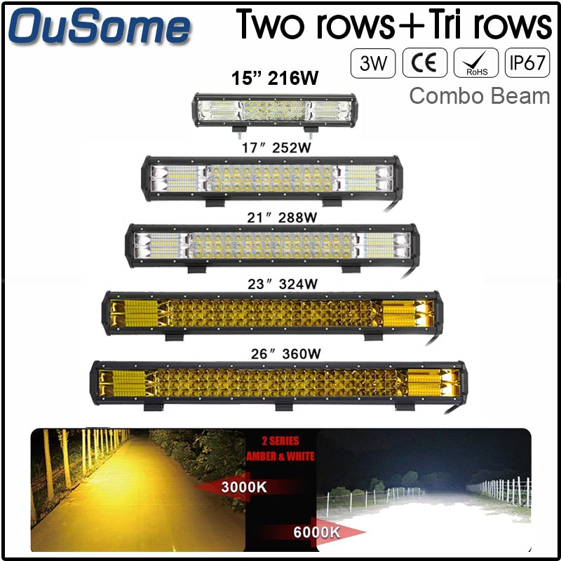 15 17 20 23 26 inch Triple rows 4X4 waterproof Combo Beam 12v 24v auto truck offroad car led light bar 6D 7D amber/yellow white