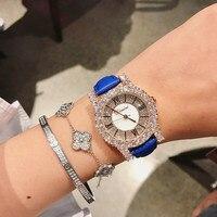 Супер розовое золото женские часы с бриллиантамы Новинки для женщин платье часы новый роскошный кожаный ремешок Кварцевые часы для женщин