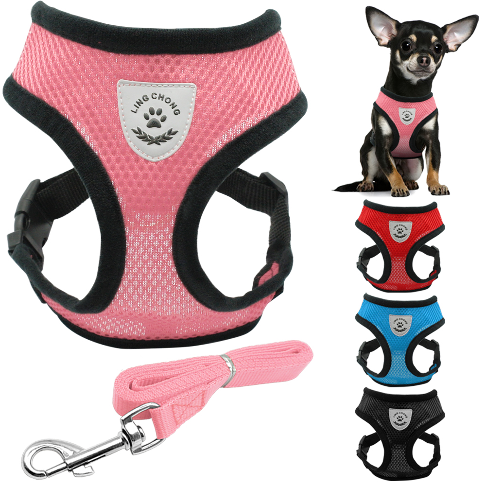 New Soft bernafas udara Nylon Mesh Puppy Dog Pet Cat Abah dan Set Leash