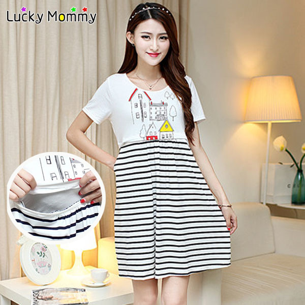 Summer Maternity Clothing Nursing Dress Casual Pregnancy Nursing Clothes Two Pieces Striped Maternity Dresses for Pregnant Women