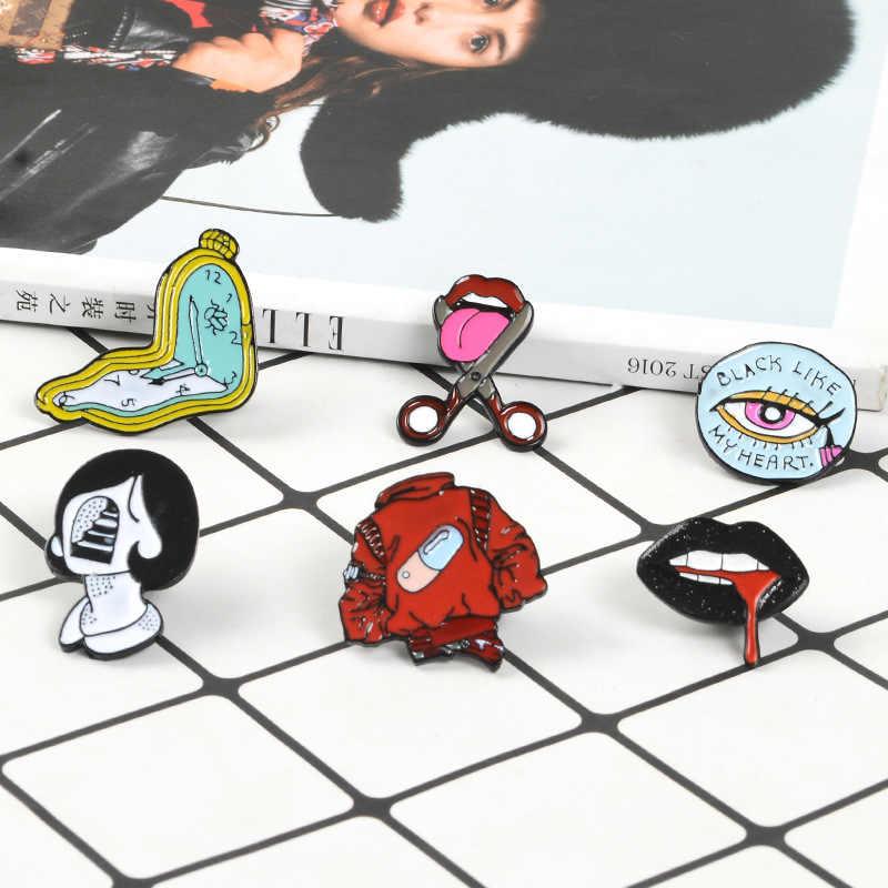 Lidah Bibir Enamel Pil Jam Gadis Bros Kemeja Jeans Kerah Abstrak Pin Tas Lencana Punk Keren Perhiasan Hadiah untuk teman