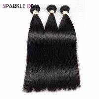 Sparkle Diva 3 Bundles Straight Hair Natural Color Bundles Deal Peruvian Human Hair Weave Non Remy