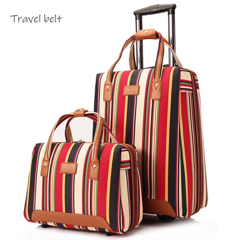 Travel Belt 20 inch oxford Rolling Luggage set Spinner Women Brand Suitcase Wheels stripe Carry On Travel Bags-in Rolling Luggage from Luggage & Bags
