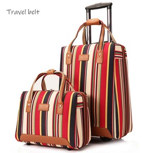 Image 1 - Travel Belt 20 inch oxford Rolling Luggage set Spinner Women Brand Suitcase Wheels stripe Carry On Travel Bags