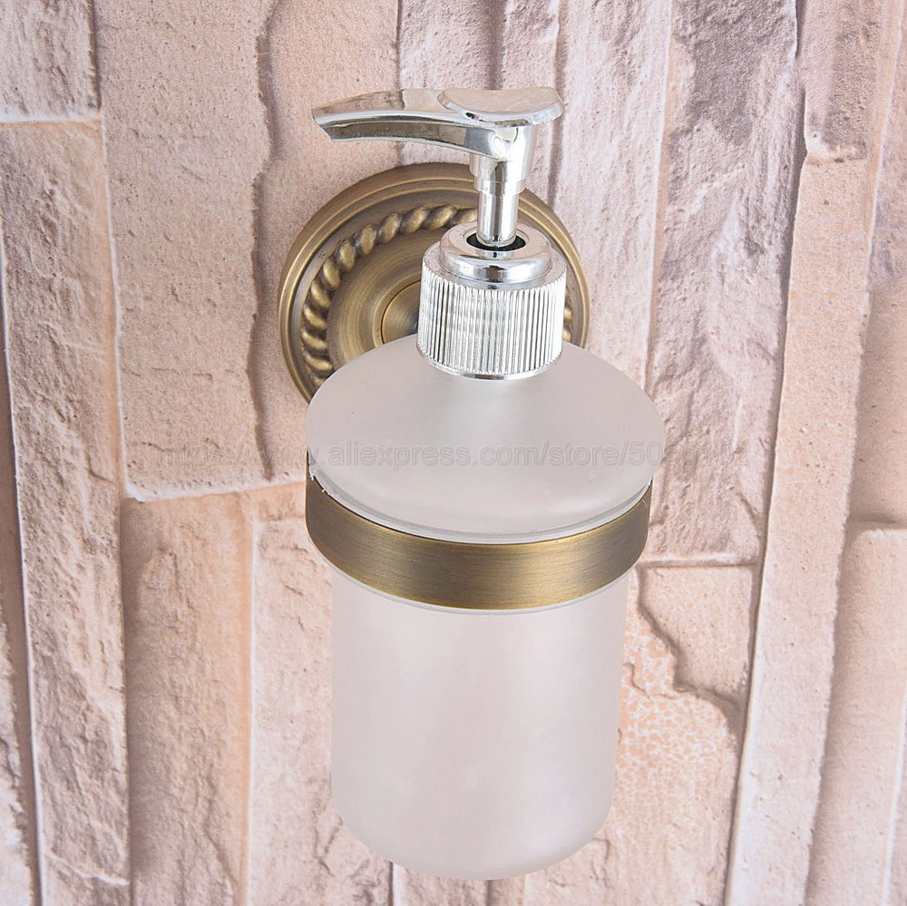 Antique Brass Bathroom And Kitchen Glass Bottle Liquid Soap Dispenser Wall Mounted Soap Dispensers Holder Rack Zba262