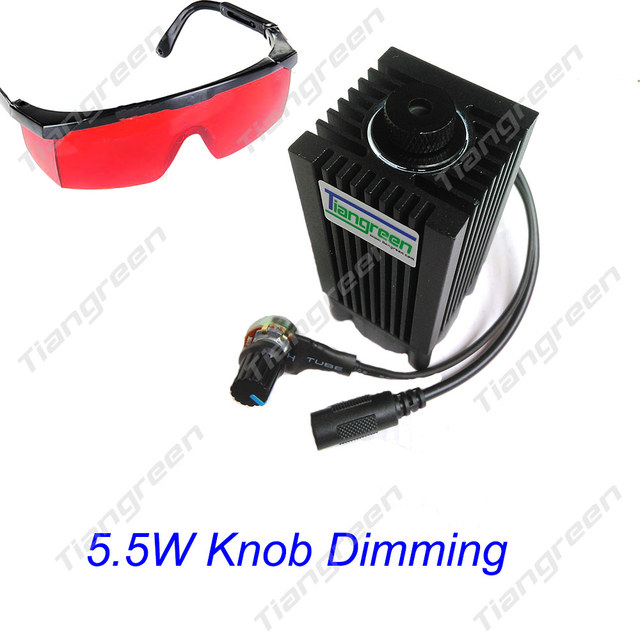 5.5W High Power 445nm Blue Laser Module, Laser Focus,Knob Dimming 450nm 5500mW Laser Head with Free Glasses Cutter machine