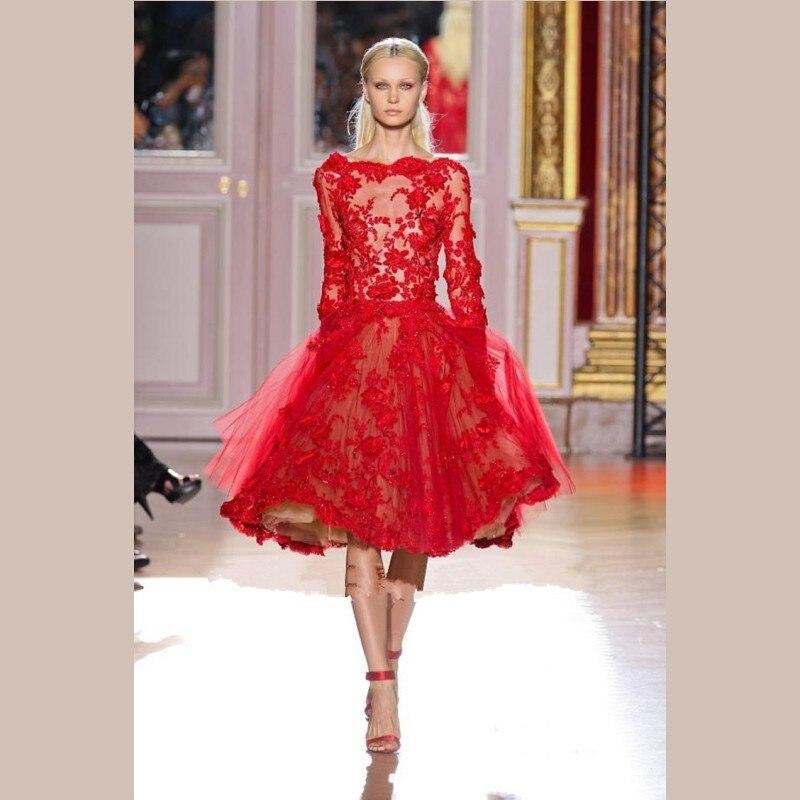Red evening dress knee length graduation