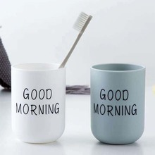 Simple Nordic Plastic Toothbrush Holder Travel Portable Washing Cup Good Morning Tooth Brush Storage Organizer Cup Bathroom Sets
