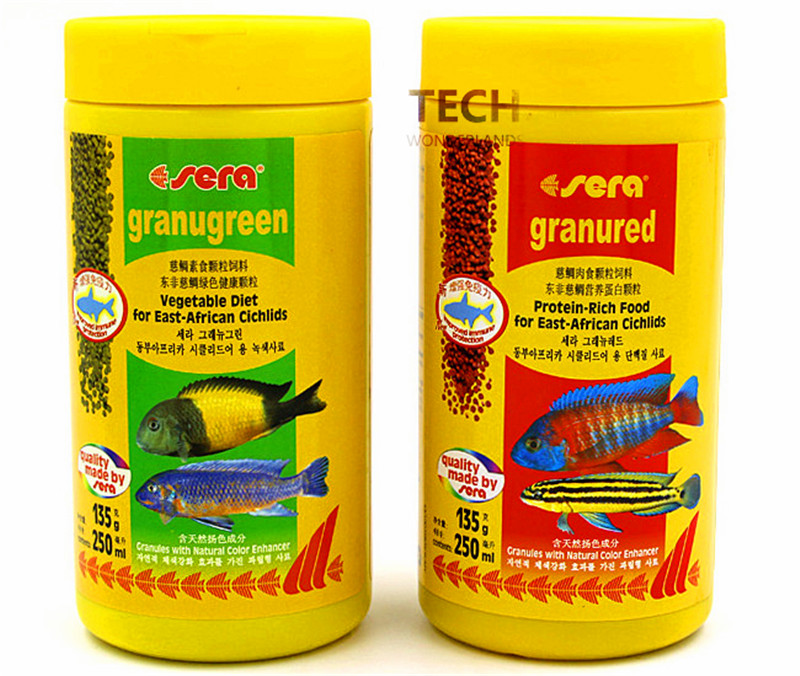 135G 600G Sera Granugreen Vegetable Diet And Sera Granured Protein-rich Food For East-African Cichlids Germany Original
