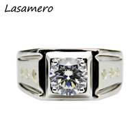 LASAMERO Certified 2.00CT Moissanites Lab Grown Diamond Ring 14k 585 White Gold Moissanite Accents Men Wedding Engagement Ring